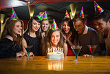 Friends celebrating a birthday together