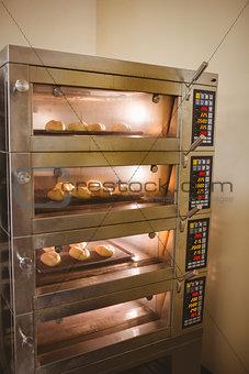 Bread rolls baking in oven