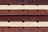 Porous chocolate bars background