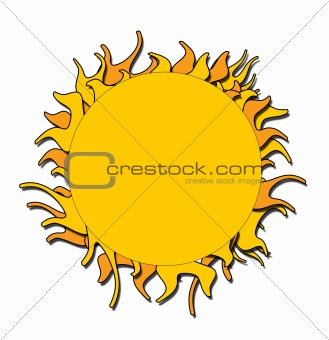 A yellow and orange sun illustration