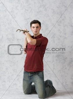 Male with Garden Tool