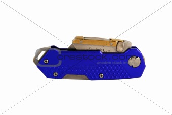 Closed Blue anodized contractors razor knife