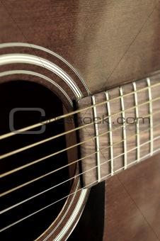 Old guitar close up