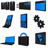 Telecommunications Mobile Industry Icons Set - Blue Black