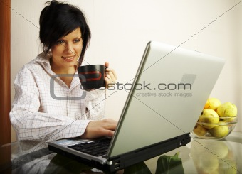 beautiful caucasian woman with laptop