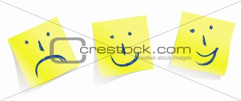 emotional faces :-)   :-(   :-D   / memory yellow pages / vector