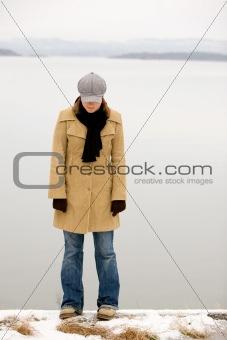 Shy Winter Woman