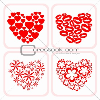 four heart symbols