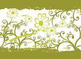 green grunge flower pattern