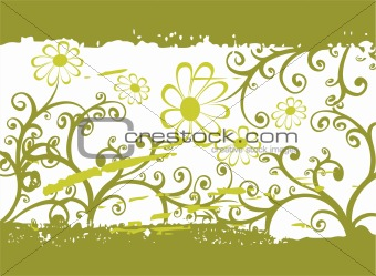 green grunge flower pattern