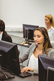 Call centre agents talking on the headset