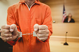 Prisoner in handcuffs clenching fists