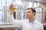 Focused scientist examining beaker with beer