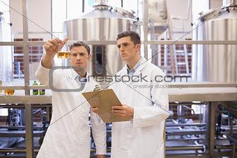 Focused scientist team looking at beaker