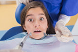Dentist and his dental assistant examining a terrified young patient