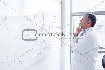 Focused scientist looking equation on whiteboard