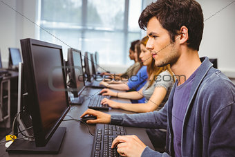 Focused student in computer class