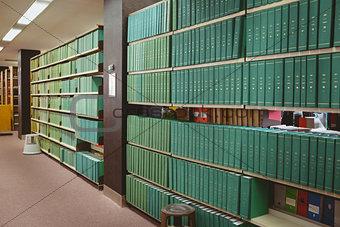 Close up of a bookshelf
