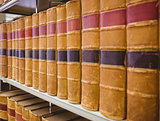 Close up of a shelf of old books