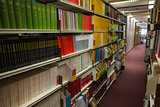 Rows of bookshelves in the library
