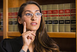 Pretty lawyer thinking in the law library