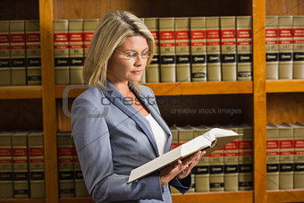 Lawyer reading book in the law library