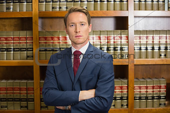 Lawyer frowning in the law library