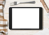 blank cooking recipe notes on black tablet pc
