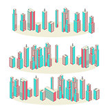 Vector Banners. Set of Three. Cityscape Background Architecture Isometric Style