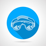 Goggles circle flat vector icon