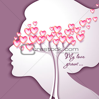 Greeting Card. Beautiful young woman