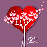 Valentine's Day. Greeting Card with tree