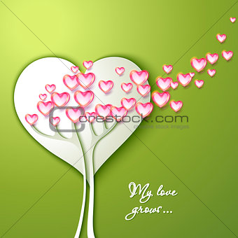 Greeting Card with tree and flowers