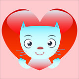 Cute cat Peeps from red heart