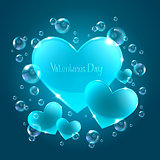 Hearts on the blue background
