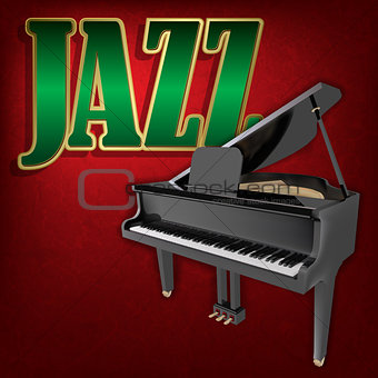 abstract grunge music background with word Jazz and grand piano
