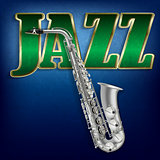 abstract grunge music background with word Jazz and saxophone