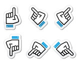 Pointing hand - up, down, across icon vector