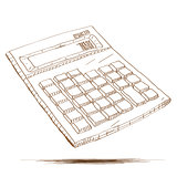Hand drawn illustration of a calculator