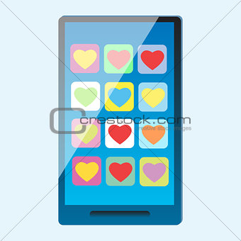 Smartphone with multi-colored hearts on the screen