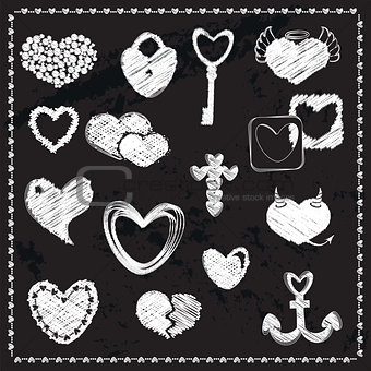 Chalk Board Doodle Set of Hearts.