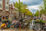 Amsterdam canal and bridge with bikes, Holland, Netherlands