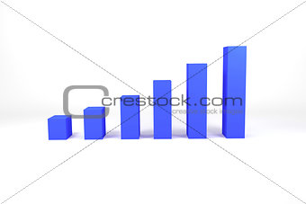 blue bar diagram on white surface illustration