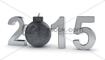 2015 year sign with round bomb isolated on white background.