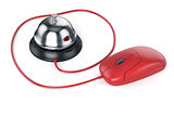 Reception bell with red computer mouse. Service concept