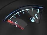 Gas gage with the needle indicating an empty tank. Crisis no fue