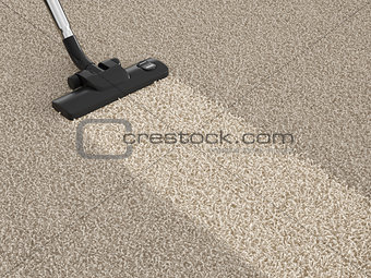 Vacuum cleaner hoover on dirty carpet. House cleaning concept
