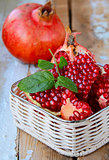 natural organic juicy ripe pomegranate on the table