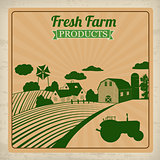 Farm fresh products retro poster
