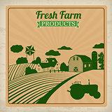 Farm fresh products retro poster